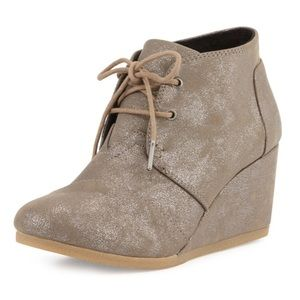 Toms Lace Up Desert Wedge Bootie